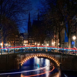 Night at Canal by Indrawaty Arifin - City,  Street & Park  Night ( blue, night, amsterdam, canal, lights )