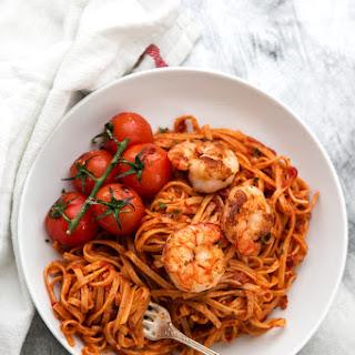 Garlic Butter Tomato Shrimp Linguine.