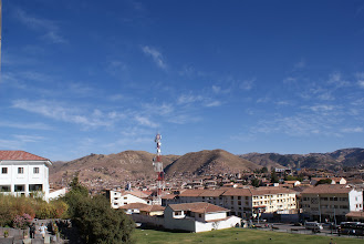 Photo: Cusco valley with the Viva El Peru sign on the mountain and a really, really huge cell tower.