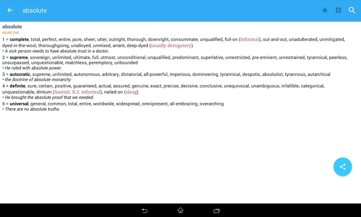 Collins English Dictionary and Thesaurus- screenshot