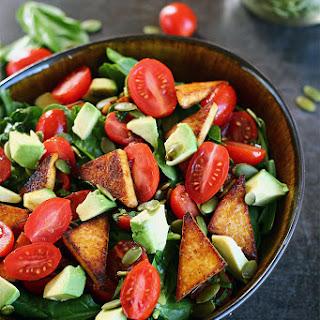 Tomato Basil Salad with Seasoned Tofu