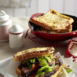 Roast Duck Sandwiches on Sesame Toast.