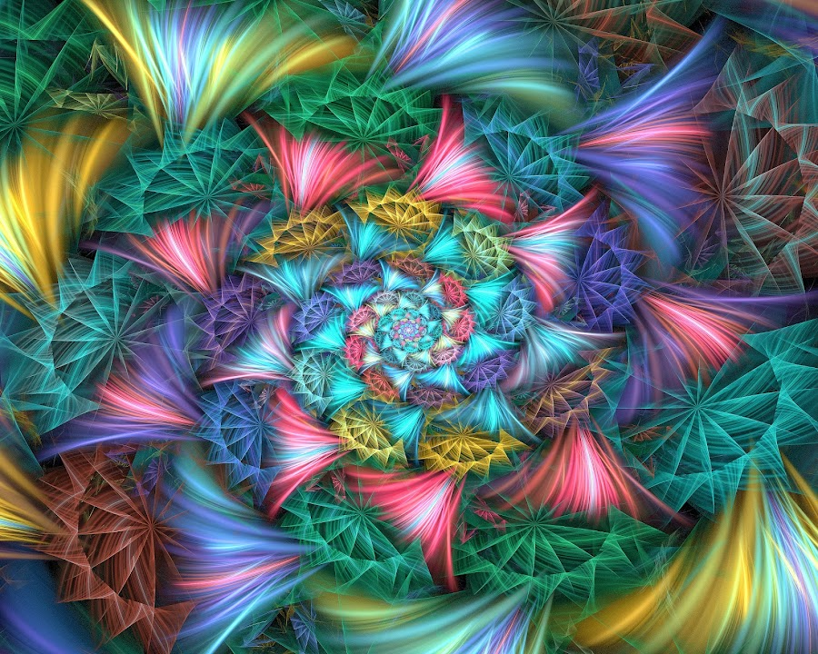 WAgon Wheels Spiral by Peggi Wolfe - Illustration Abstract & Patterns ( abstract, wolfepaw, wheel, bright, color, wagon, spiral, fun, fractal, digital )