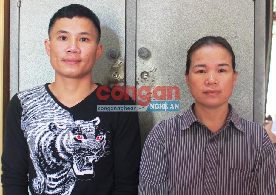 2 đối tượng Nguyễn Văn Nam và Phan Thị Vinh tại cơ quan Công an