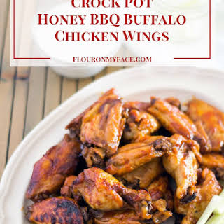 Crock Pot Honey BBQ Buffalo Chicken Wings.
