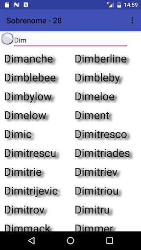 A list of surnames  screenshots 1