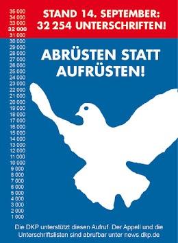 Plakat: Friedenstaube «Abrüsten statt Aufrüsten».