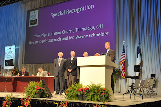 Photo: Tallmadge Lutheran Church in Tallmadge, Ohio, received special recognition for their revitalization initiatives and commitment. Representing the congregation were Rev. Dr. David Zachrich and Mr. Wayne Schneider.