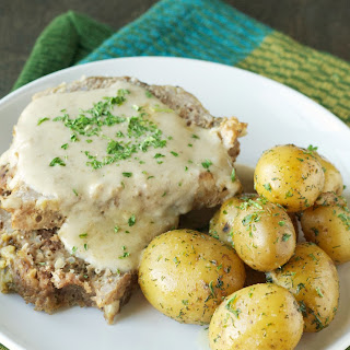 Crockpot Creamy Meatloaf with Baby Dill Potatoes