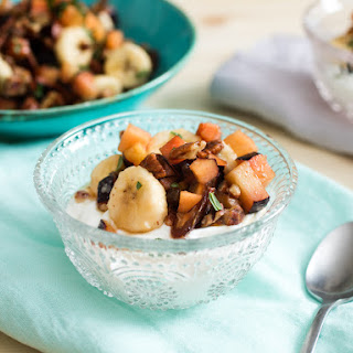 Plum, Date, Banana, and Maple-Bacon Salad.