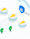 Thumbnail of data flowing from green checkmarks through yellow keys to a blue shield with a white padlock on it in the cloud