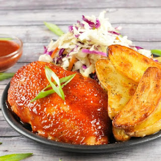 Chipotle BBQ Grilled Chicken Breast With Vinegar Slaw and Fingerling Potatoes