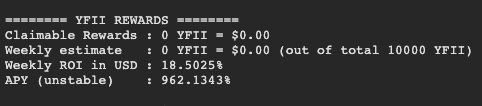 Screengrab showing weekly ROI and APY for YFII-DAI BPT staking