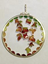 Photo: Plique-à-Jour Enamel Jewelry - Pendant - Falling Leaves- Fine Silver, Plique-a-Jour Transparent and opalescent enamels - approximately ? diameter - $325.00 US