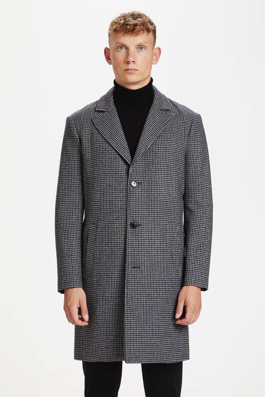 Matinique Lancaster coat dark grey melange houndtooth