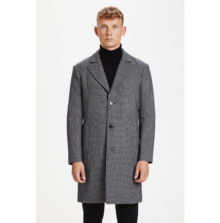 Matinique Lancaster coat dark grey melange houndtooth