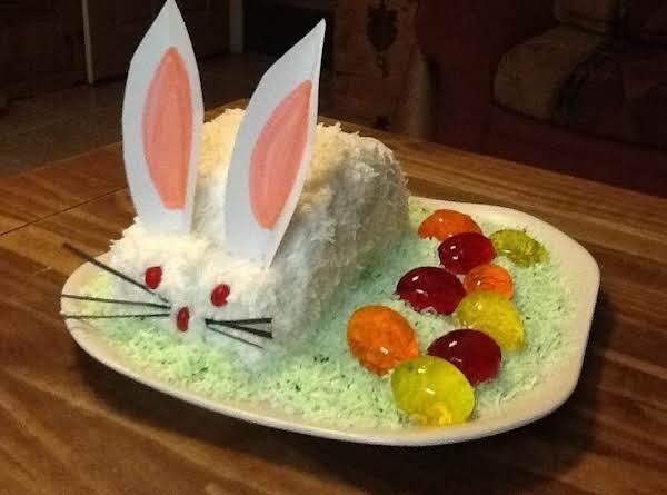 Mom's Easter Bunny Cake W/jello Eggs