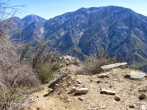 Photo: View east from the northeast ridge of Sunset Peak toward Ontario Peak (8693'). The ridge in the foreground provides an alternate route from Cow Canyon Saddle.