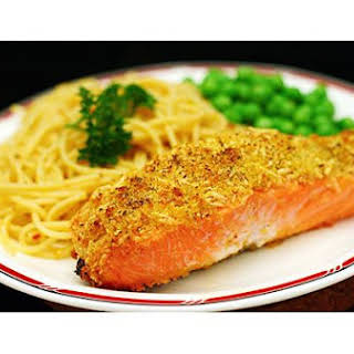 Roast Salmon With Parmesan Cheese Crust.