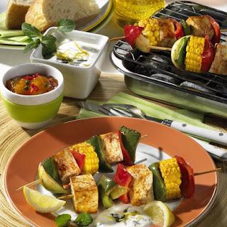 Tandoori Tofu Kebabs with Mint and Lemon Yogurt.