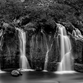 Hraunfossar by Ruslan Stepanov - Landscapes Waterscapes ( water, iceland, black and white, waterfall, hraunfossar, long exposure, rocks )