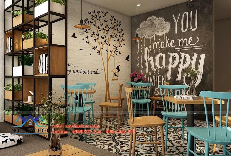 thiết kế quán cafe hiện đại kết hợp mộc mạc