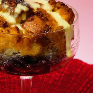 Blueberry Compote Bread Pudding With Soft Curd Cheese Sabayon