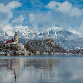 by Mario Horvat - Landscapes Mountains & Hills ( water, sneg, touristic, winter, slovenija, church, snow, slovenia, bled, lake, travel, jezero, panorama, island,  )