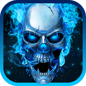 Blue Flaming Skull Live Wallpaper 2018