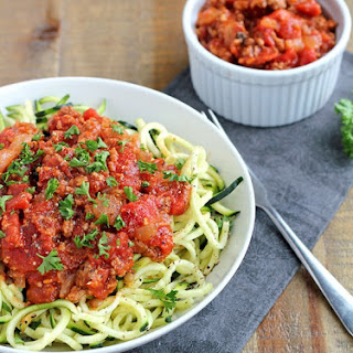 Zucchini Spaghetti with Beef Bolognese.