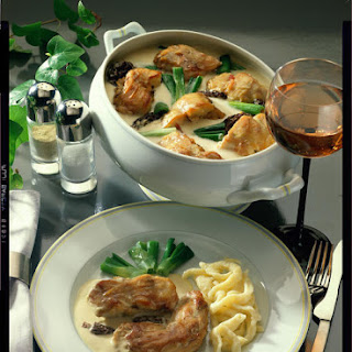 Rabbit Stew with Morels, Scallions and Dumplings.