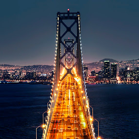 Fiery River by Artem Kevorkov - Buildings & Architecture Bridges & Suspended Structures ( lights, skyscrapers, sunset, california, night, long exposure, bay bridge, day, san francisco, fire )