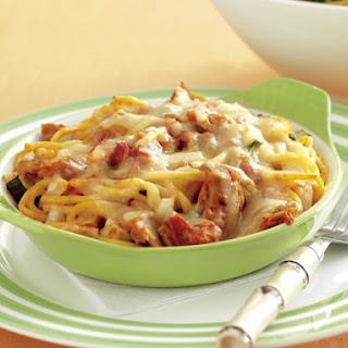 Tuna Noodle Casseroles with Salad.