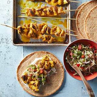 Indian-Spiced Turkey Kabob Pitas.