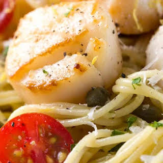 Pan Seared Scallops with Lemon Caper Pasta.