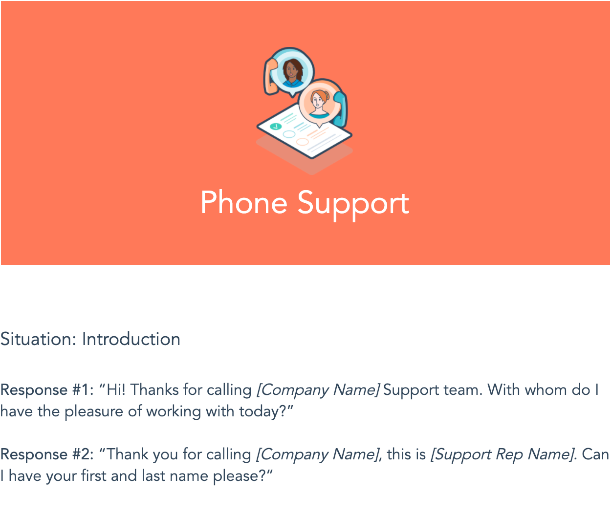 Phone Support script from HubSpot