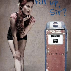 At the Gasstation by Johannes Oehl - Typography Captioned Photos ( studio, fashion, sexy, girl, sweet, redhead, cherry blue, pinup, 50s, fifties,  )