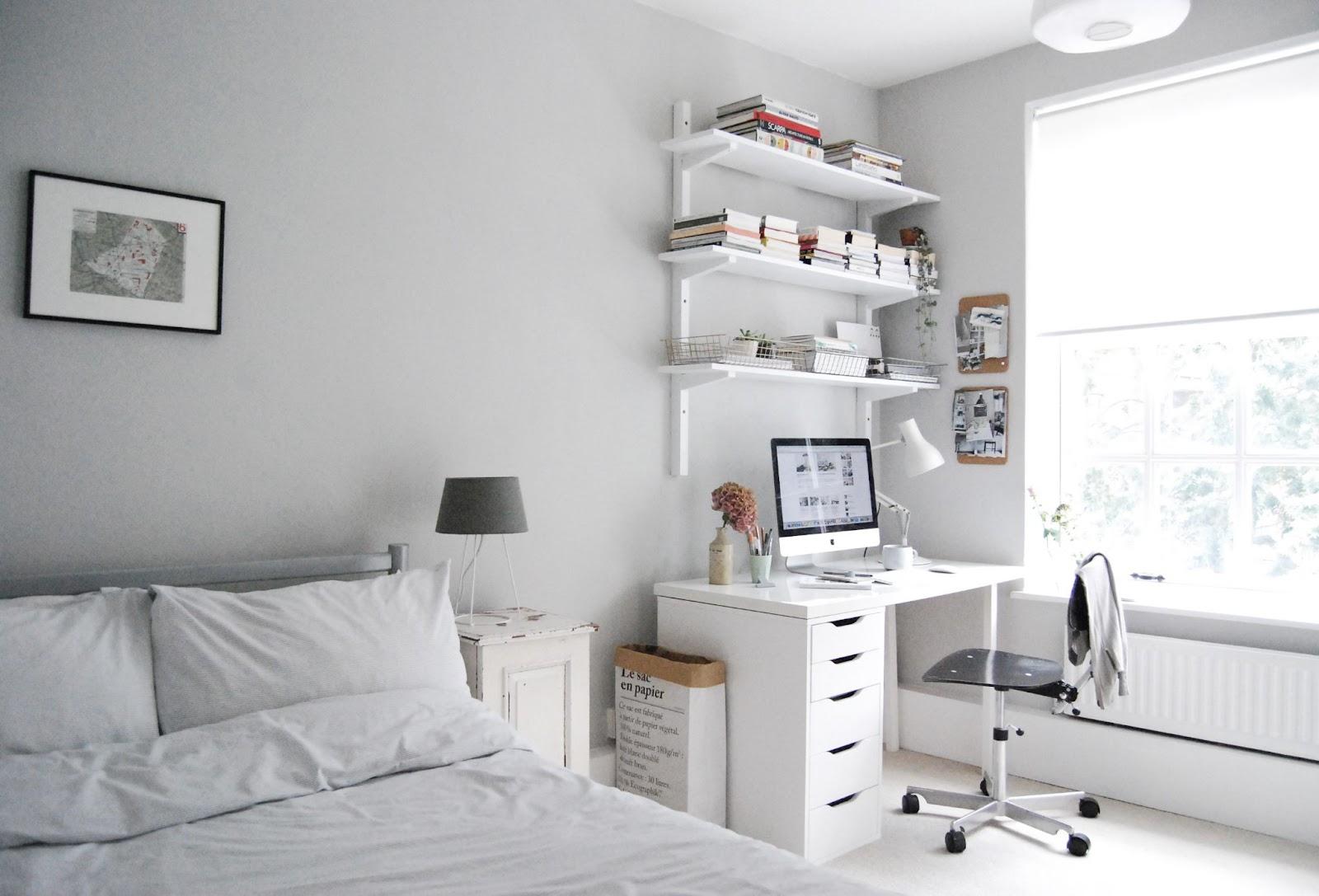 12.White Office Setup for small Bedroom