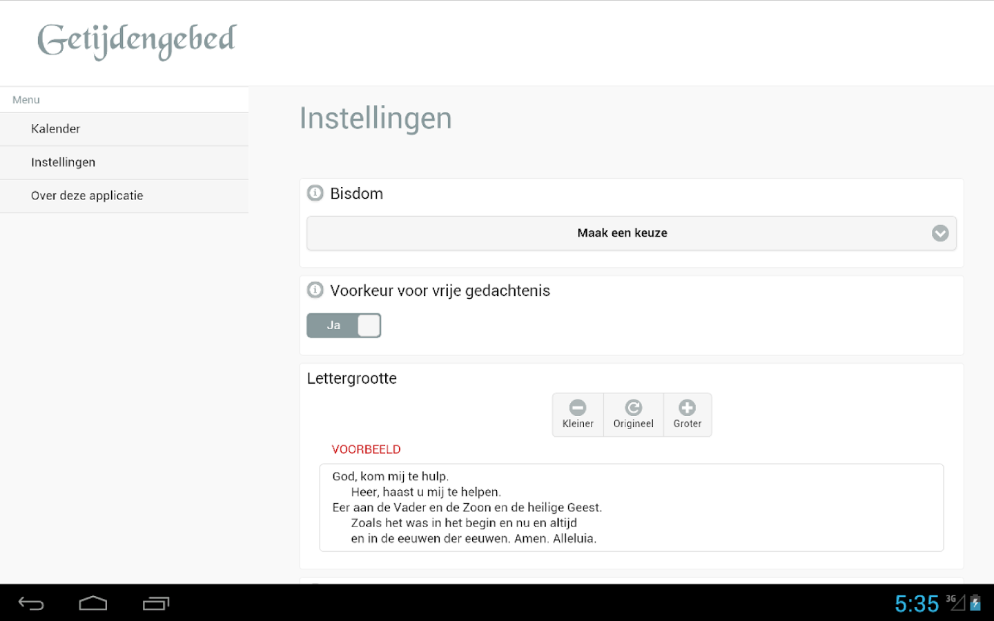 Getijdengebed- screenshot