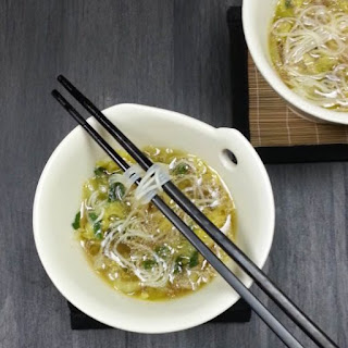 Bok Choy Cabbage Soup with Rice Noodles.