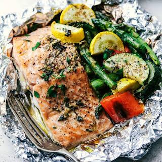 Butter Garlic Herb Salmon Foil Packets.