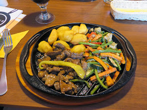 Photo: Beef with potatoes and grilled vegetables