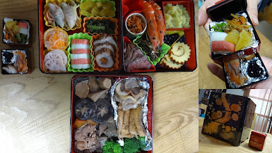 """Photo: New year's special meal called """"Osechi (http://en.wikipedia.org/wiki/Osechi)"""" prepared by my mother. Each food has special and auspicious meaning and altogether arrangedin a multitiered """"treasure"""" box. She kept another small box aside for my late father. 2nd January updated -http://jp.asksiddhi.in/daily_detail.php?id=411"""