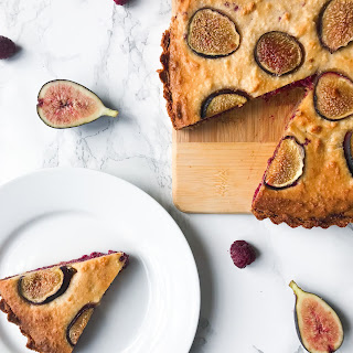 FIG, RASPBERRY AND ALMOND FRANGIPANE TART.