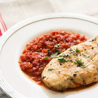 Grilled Chicken with Tomato Tarragon Sauce.