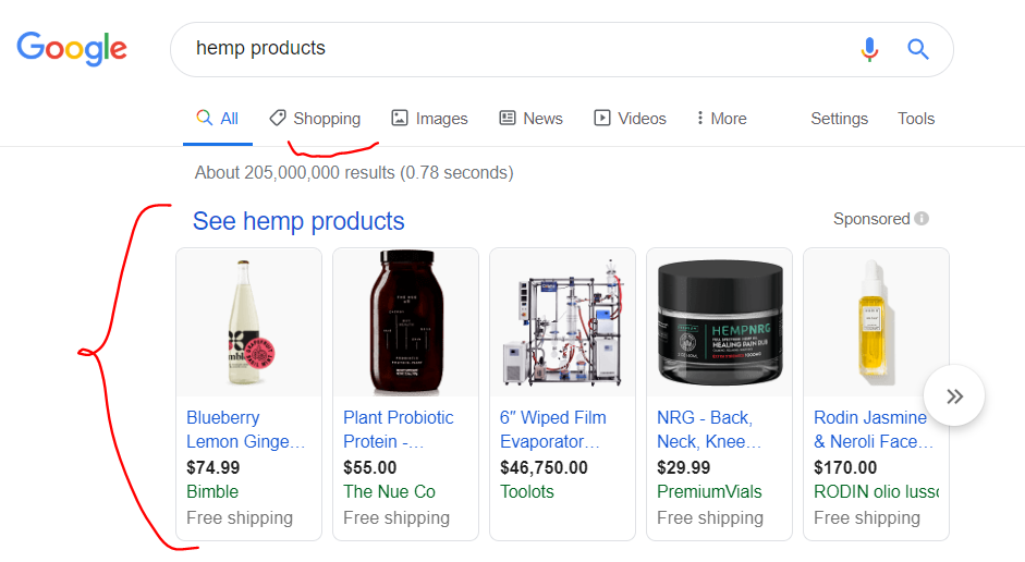 Image showing Google Shopping results in search