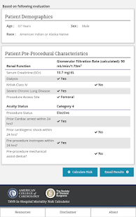 TAVR Risk Calculator- screenshot thumbnail