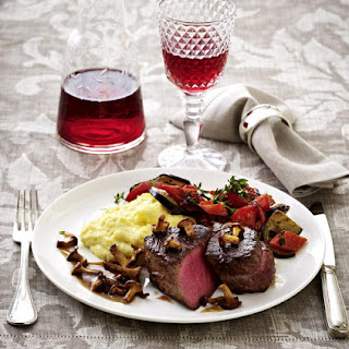 Beef Tenderloin with Polenta, Ratatouille and Chanterelle Mushroom Sauce.