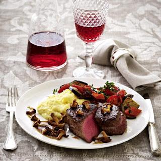 Beef Tenderloin with Polenta, Ratatouille and Chanterelle Mushroom Sauce.