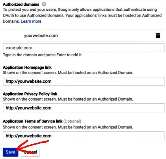 agregar información de dominio autorizado